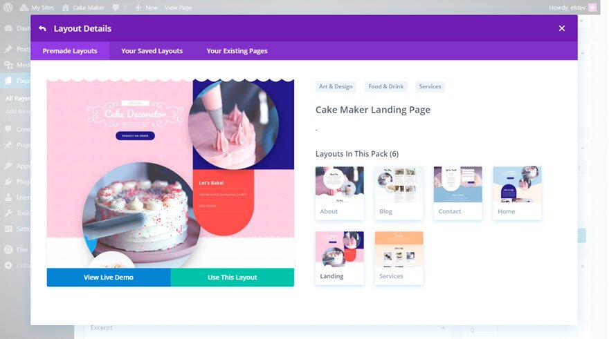 divi cake maker layout pack