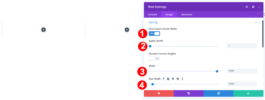 adjust settings to the new row