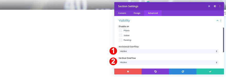 ajustar la visibilidad en la sección