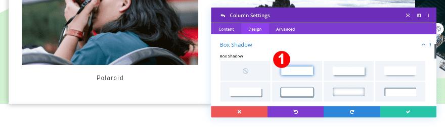 box shadow for the polaroid
