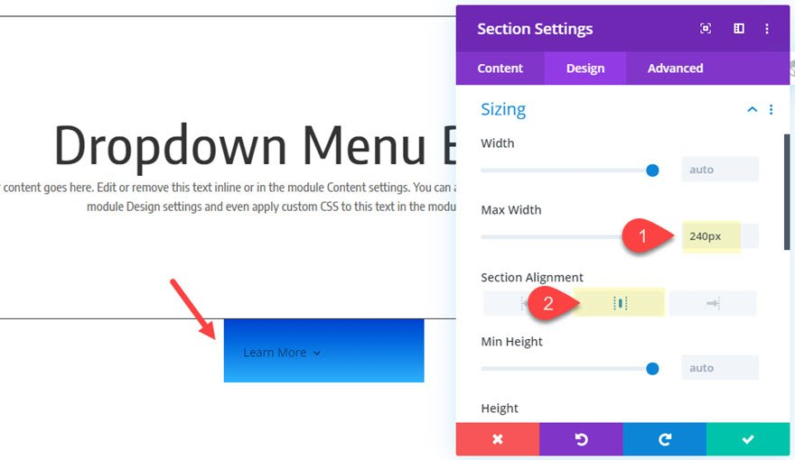 divi dropdown menu button