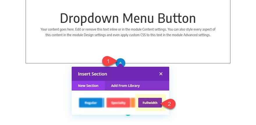 botón de menú desplegable divi