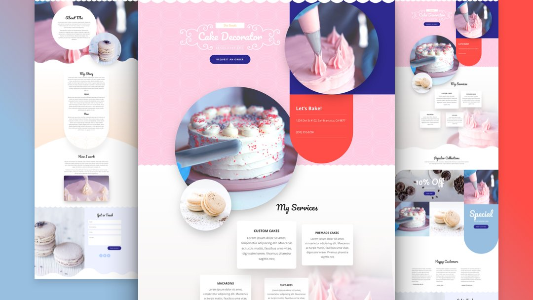 Get a FREE Cake Maker Layout Pack for Divi