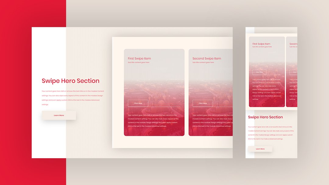 Download a FREE CTA Column Swipe Hero Section Design for Divi