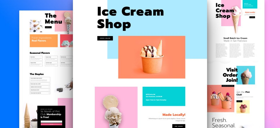 Get a FREE Ice Cream Shop Layout Pack for Divi