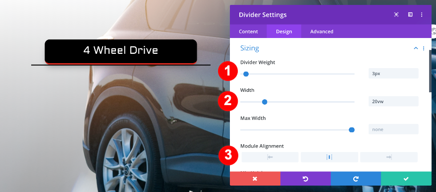 divider sizing settings