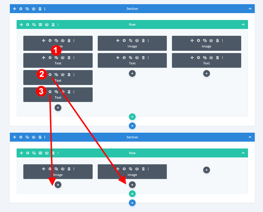 duplicate and drag text modules