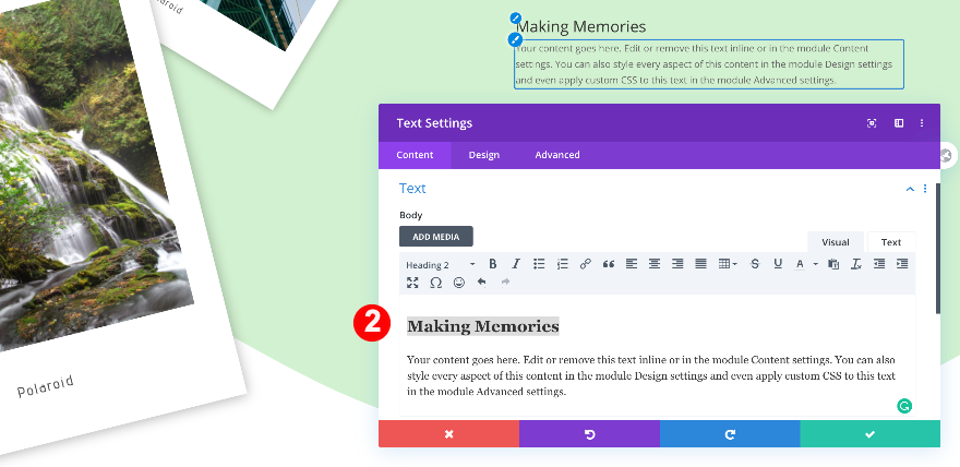 making memories text module