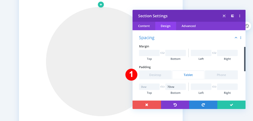 padding section settings