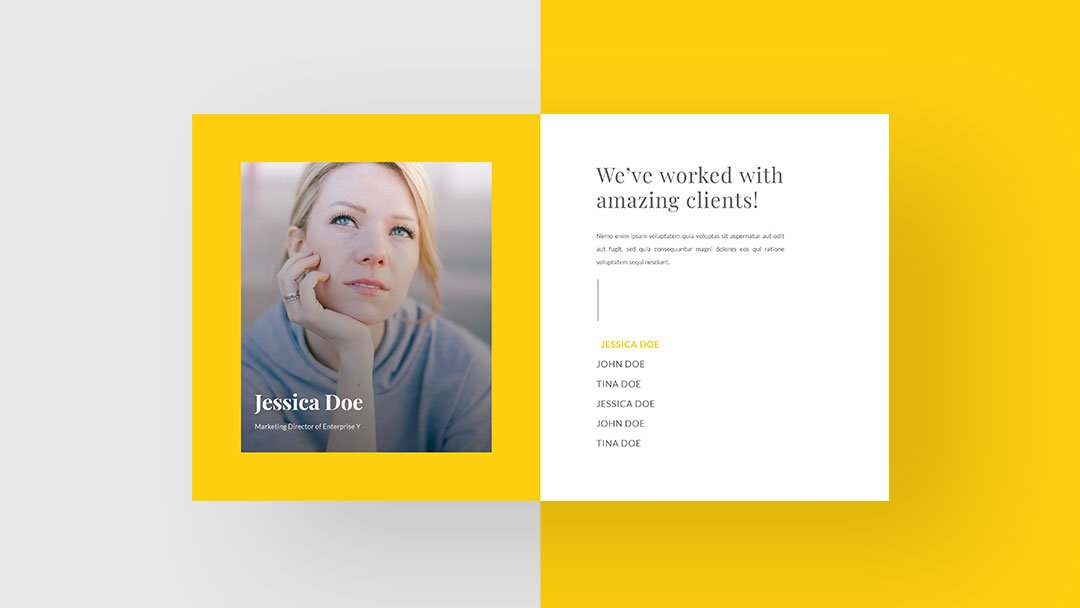 Download a FREE & Advanced Client Showcase Hover/Click Design for Divi