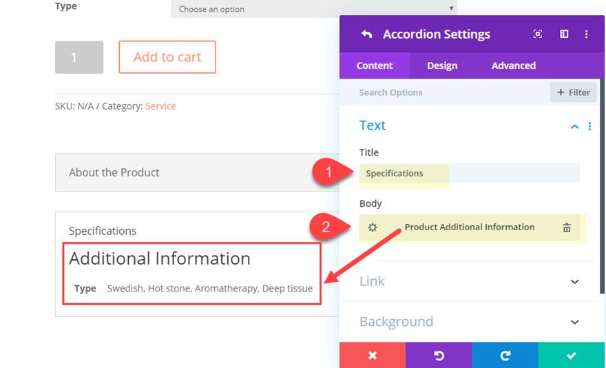 divi product info accordion