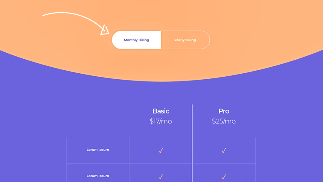 Download a FREE Monthly/Yearly Pricing Toggle Design for Divi