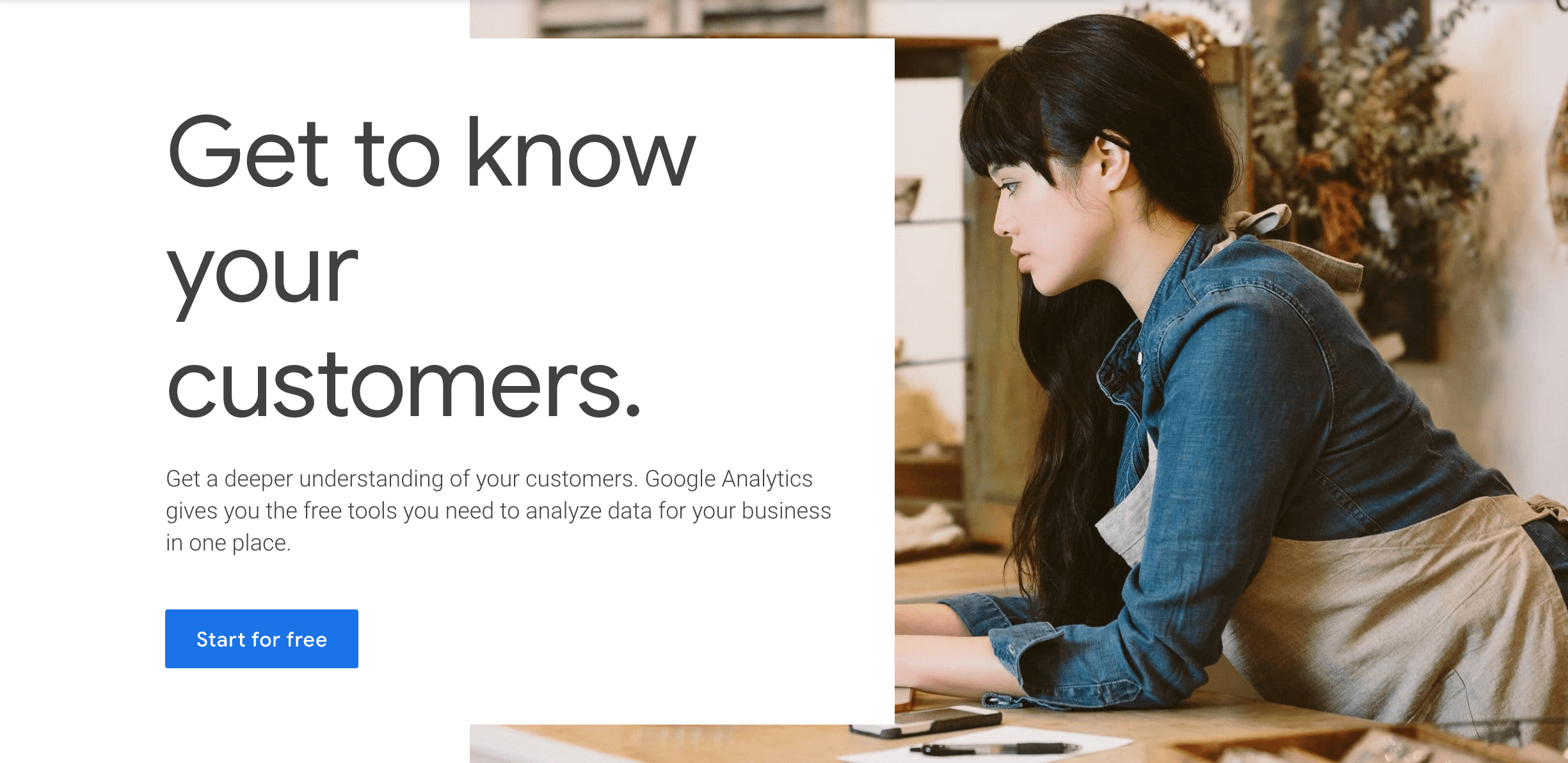 The Google Analytics homepage.