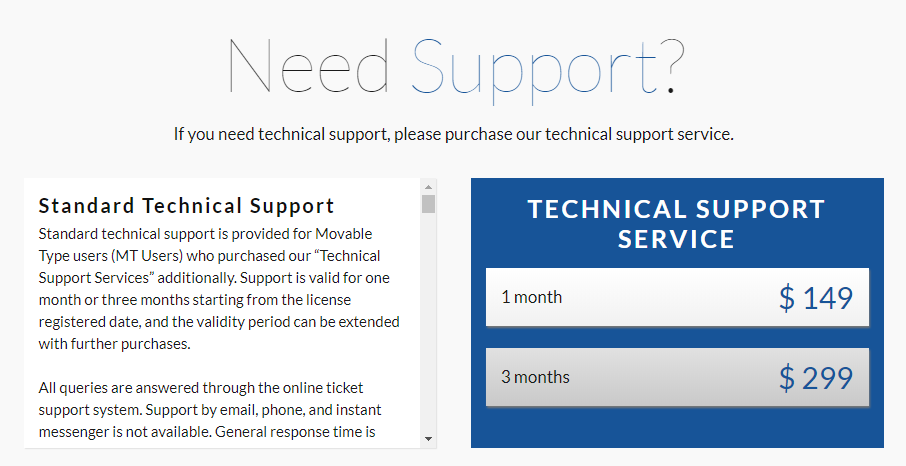 Paying for professional Movable Type support.