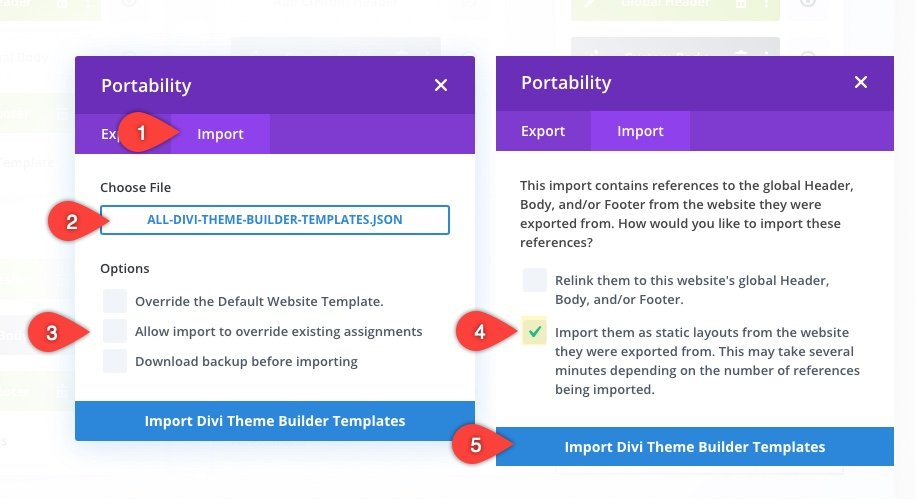 Divi theme builder portability options