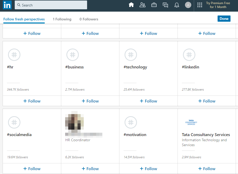 Relevant people, companies, and topics to follow in LinkedIn.