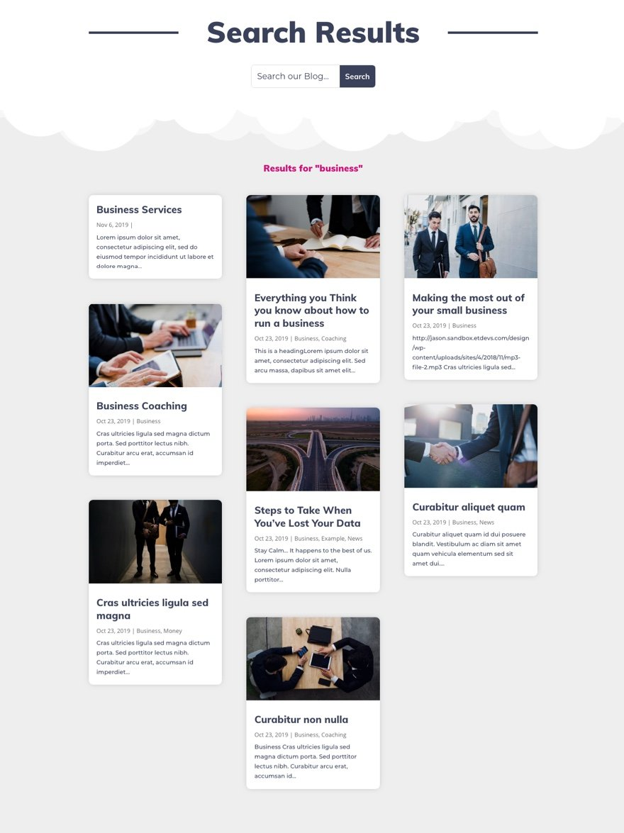 Divi Search Results Page Template