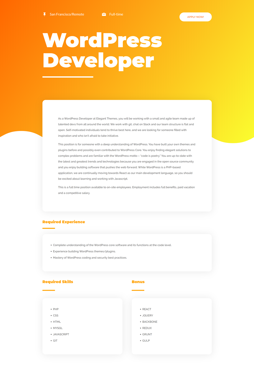 open job position template