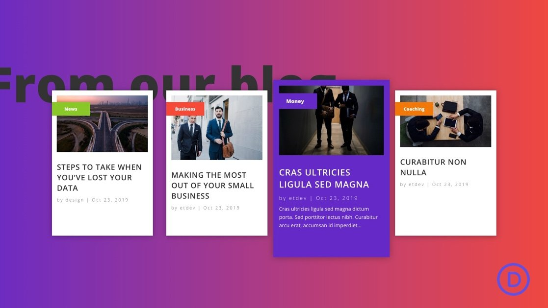 How to Design a Recent Posts by Category Layout with Cool Hover Effects in Divi