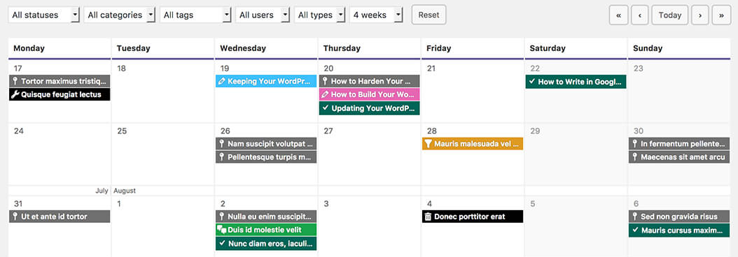 An example of an editorial calendar.