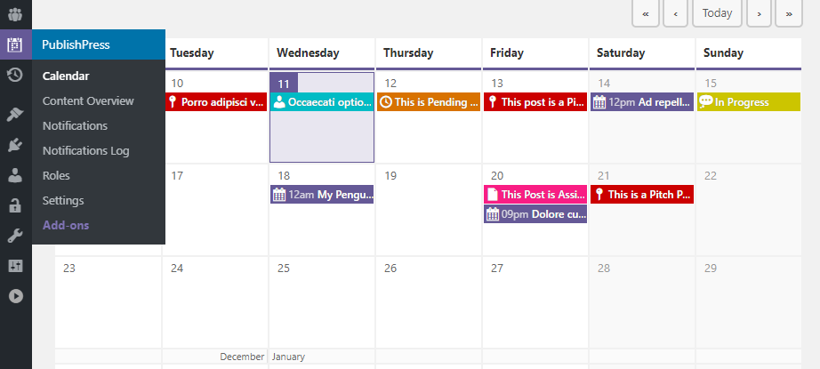 An overview of your content calendar.