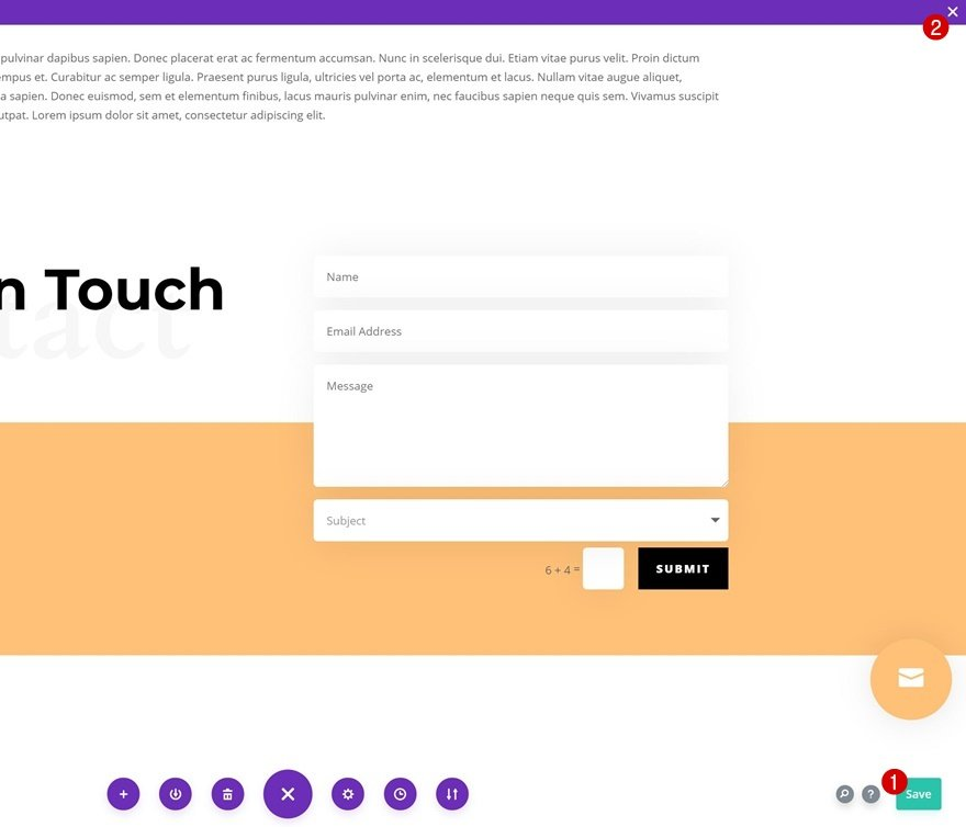 bottom-page contact form