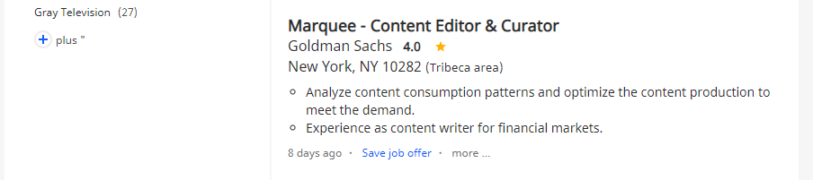 An example of a digital editor job listing.