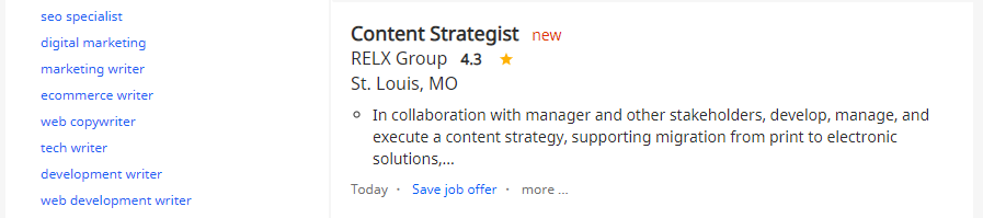 An example of a content strategist job.