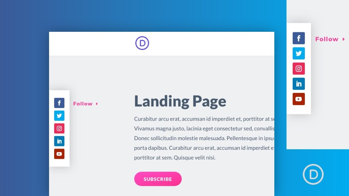 How to Design a Pop Out Social Media Follow Buttons Bar to your Page Template in Divi