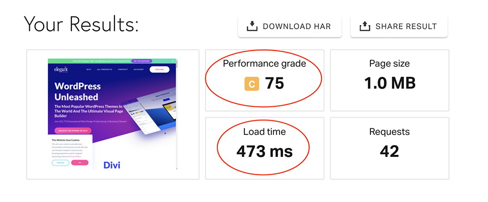 elegant themes page speed test
