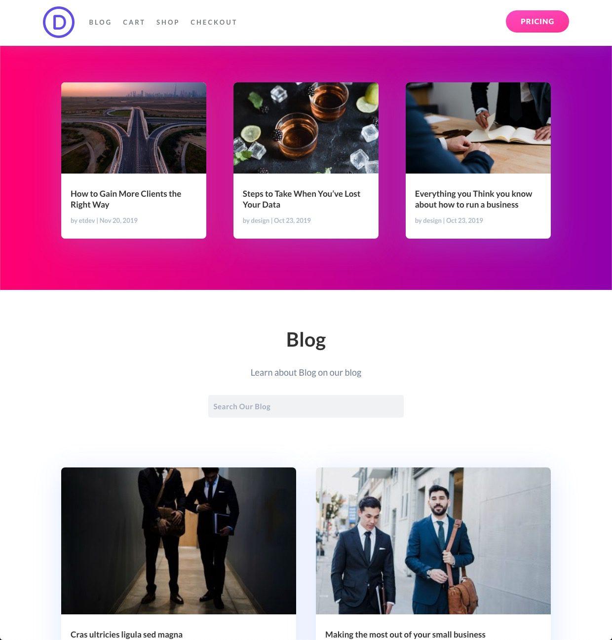 organizar el contenido de la página del blog en Divi