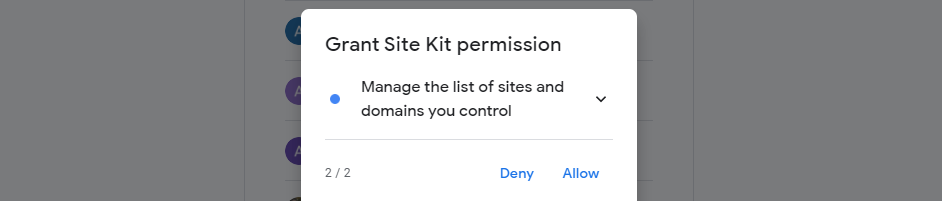 Granting the necessary permissions for Site Kit.