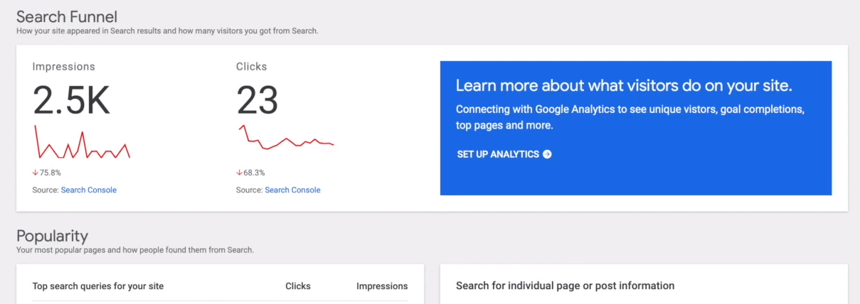 A Search Console report.