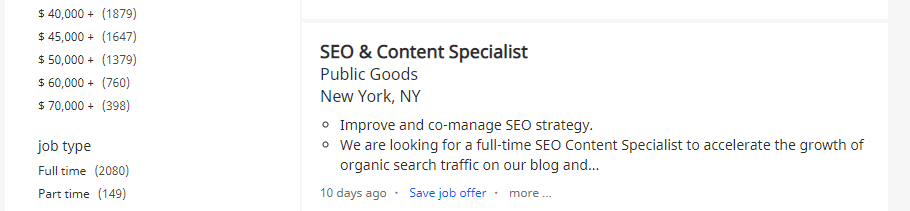 An example of an SEO specialist gig.