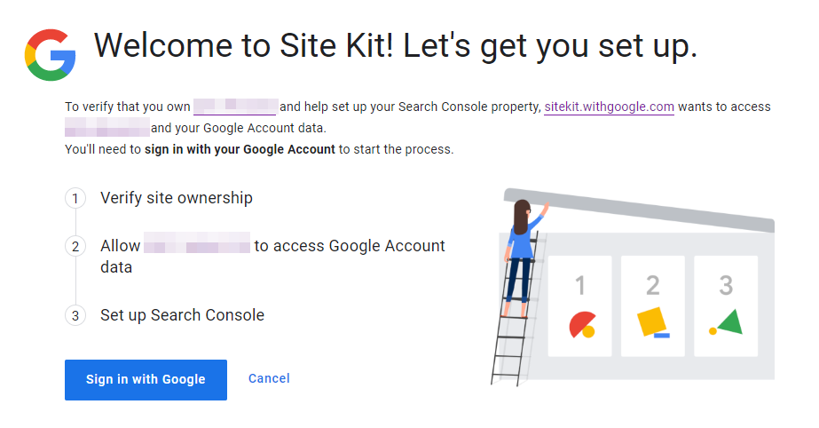 Setting up Site Kit access for your website.