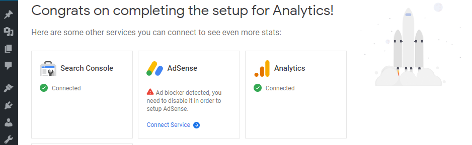 The success message you see after connecting Analytics.