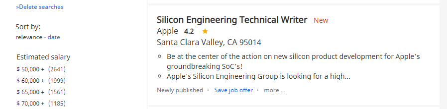 An example of a tech writing job posting.