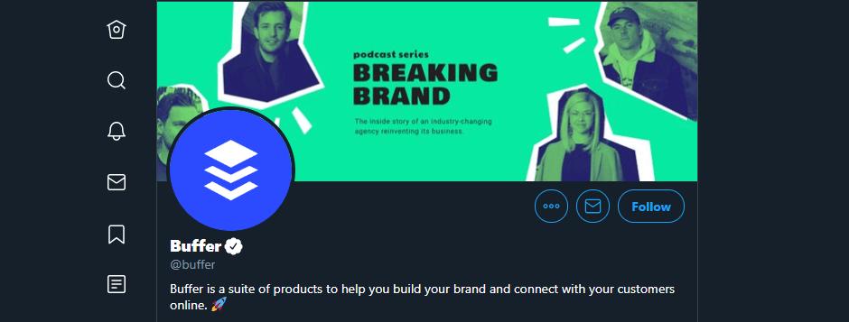 Buffer's Twitter account.