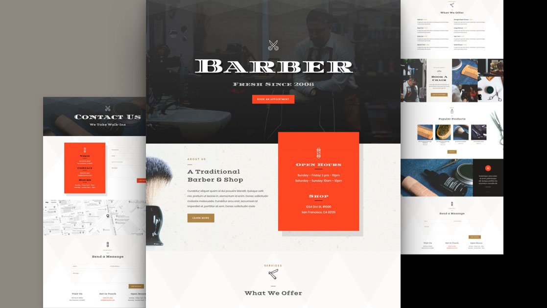 Get a FREE Barber Shop Layout Pack for Divi