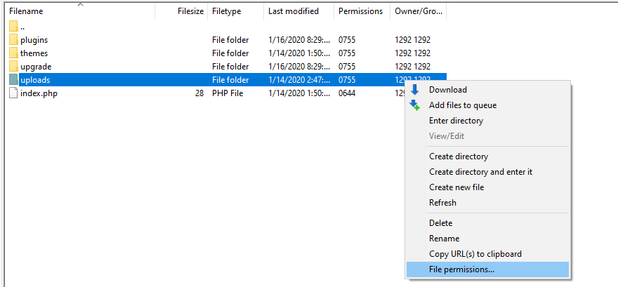 Changing the permissions for your uploads folder.