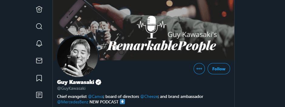 Guy Kawasaki's Twitter account.