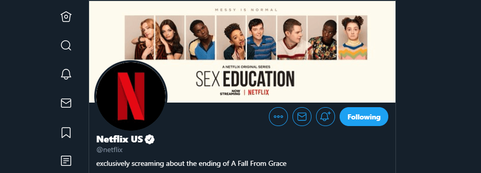 Netflix's Twitter account.