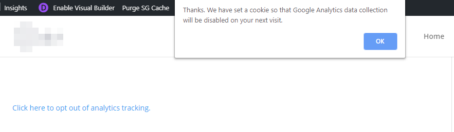 The analytics opt-out confirmation message.