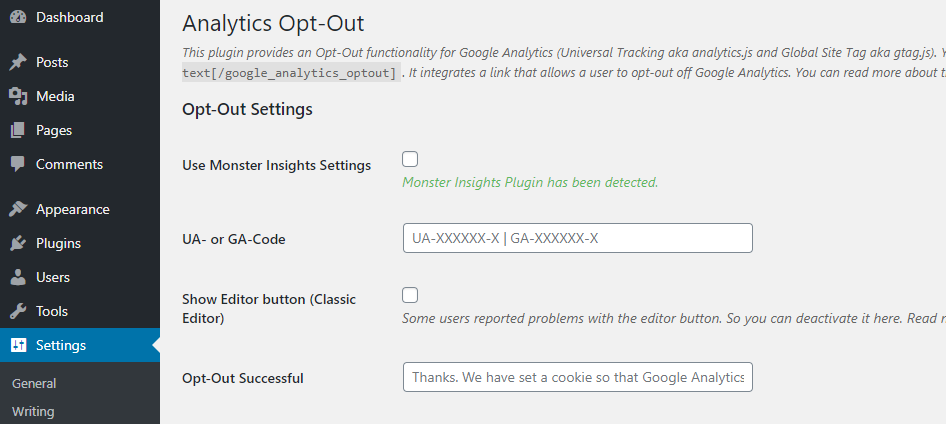 Configuring the opt-out plugin.