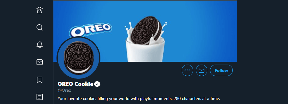 Oreo's Twitter account.