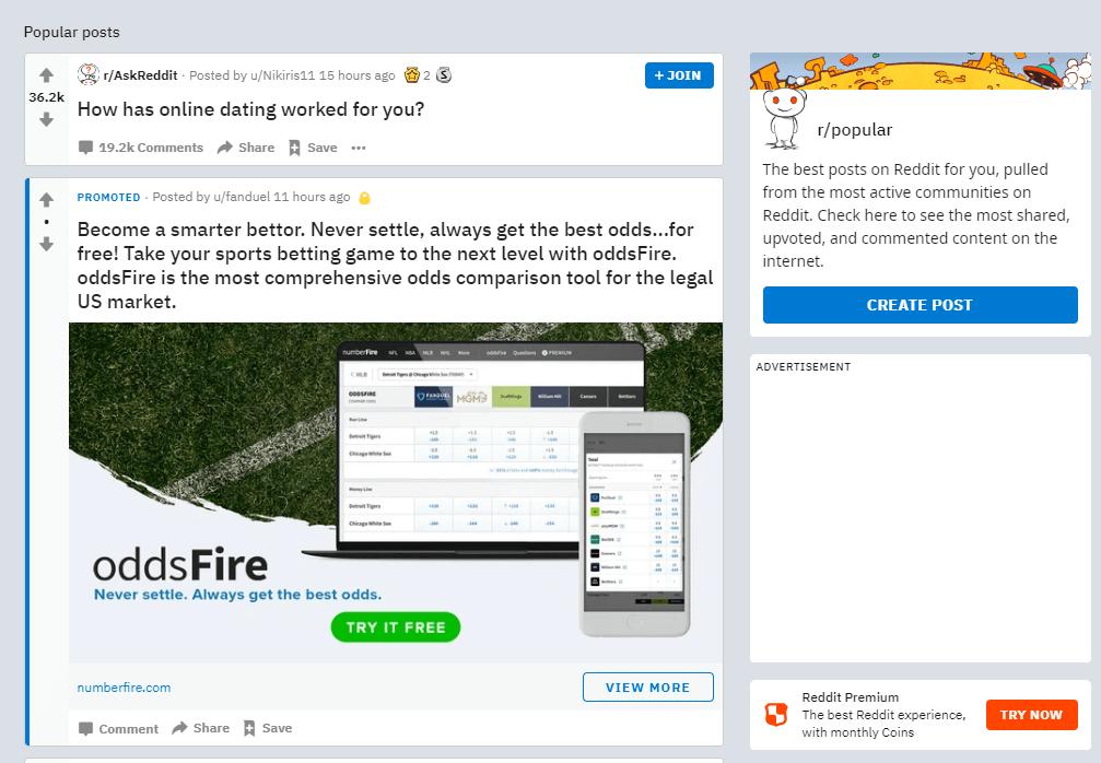 The Reddit sidebar.