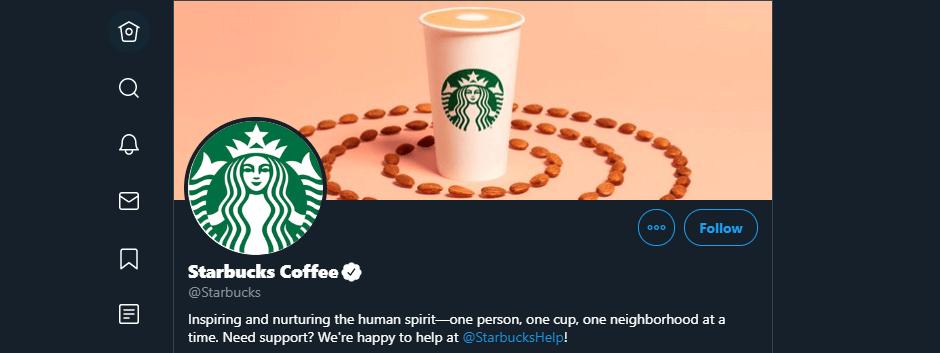 Starbucks' Twitter account.