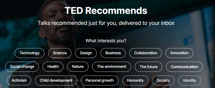 The TED Talks homepage.