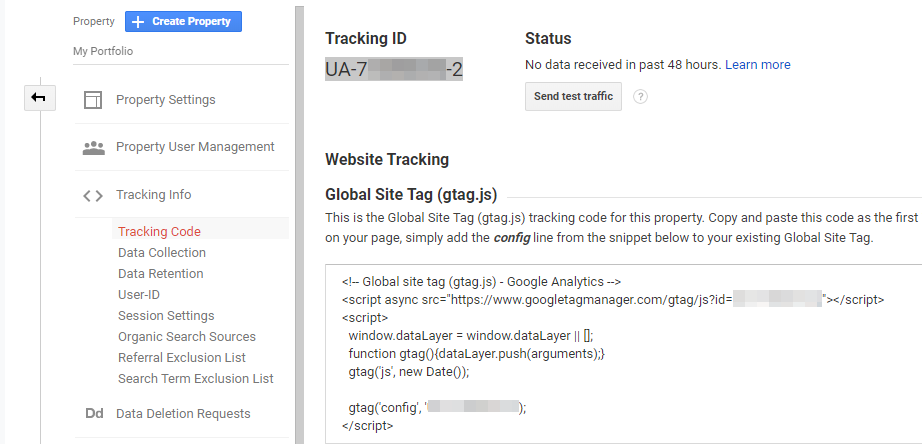 Retrieving your analytics tracking code.