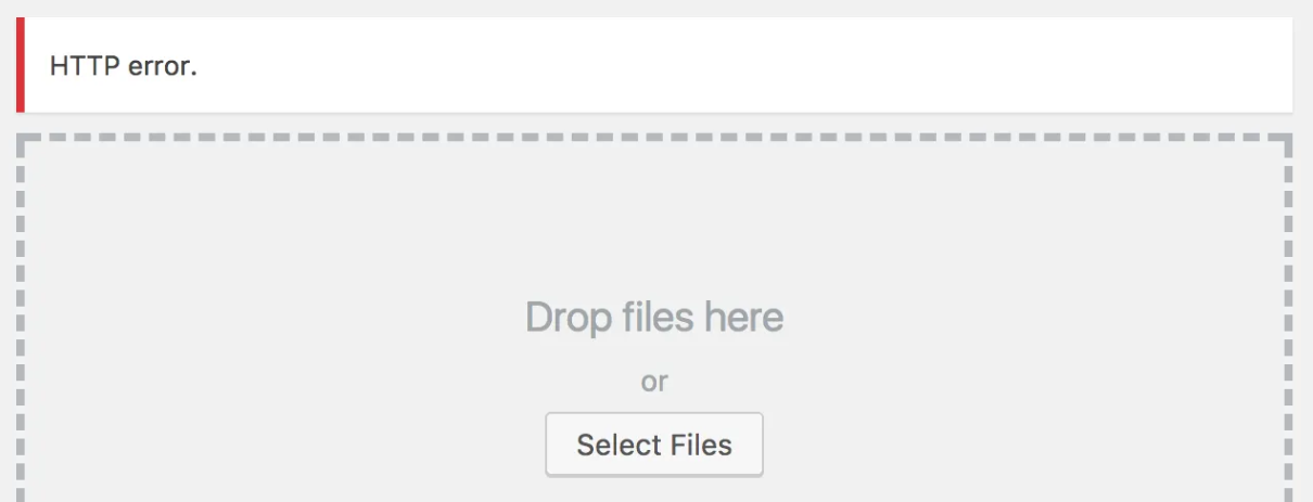 The HTTP error when uploading an image to WordPress.